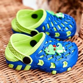 Klapki Dziecięce Piankowe Kroksy Granatowe Krokodyl Casper niebieskie żółte 2
