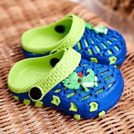 Klapki Dziecięce Piankowe Kroksy Granatowe Krokodyl Casper niebieskie żółte 1