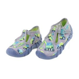 Befado obuwie dziecięce 110P371 niebieskie szare zielone żółte 2