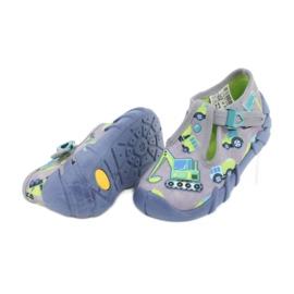 Befado obuwie dziecięce 110P371 niebieskie szare zielone żółte 3