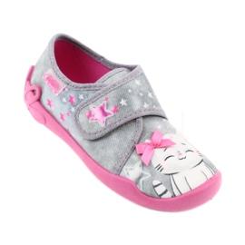 Befado obuwie dziecięce 122X002 różowe szare 1