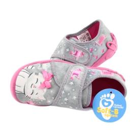 Befado obuwie dziecięce 122X002 różowe szare 5