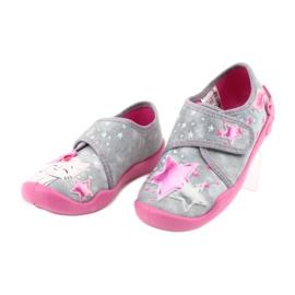Befado obuwie dziecięce 122X002 różowe szare 3