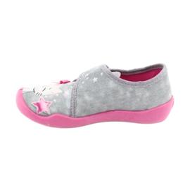 Befado obuwie dziecięce 122X002 różowe szare 2