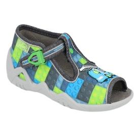 Befado obuwie dziecięce 217P104 niebieskie szare zielone 1