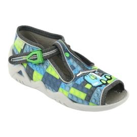 Befado obuwie dziecięce 217P104 niebieskie szare zielone 2