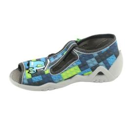 Befado obuwie dziecięce 217P104 niebieskie szare zielone 3