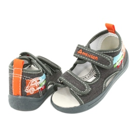 American Club American sandałki buty dziecięce wkładka skórzana TEN46 pomarańczowe szare 3