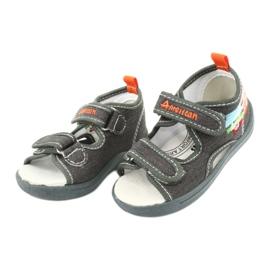 American Club American sandałki buty dziecięce wkładka skórzana TEN46 pomarańczowe szare 2