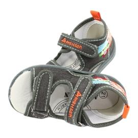 American Club American sandałki buty dziecięce wkładka skórzana TEN46 pomarańczowe szare 4