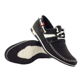 Riko buty męskie półbuty sportowe 625 skóra białe czarne 3