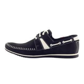 Riko buty męskie półbuty sportowe 625 skóra białe czarne 2