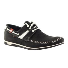 Riko buty męskie półbuty sportowe 625 skóra białe czarne 1