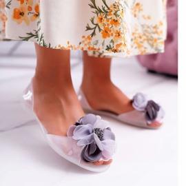 Lu Boo | Gumowe Balerinki Meliski Kwiatki Białe Candela bezbarwne 1