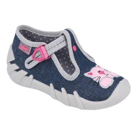 Befado obuwie dziecięce 110P378 granatowe różowe szare 1