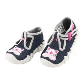 Befado obuwie dziecięce 110P378 granatowe różowe szare 3