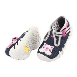 Befado obuwie dziecięce 110P378 granatowe różowe szare 4