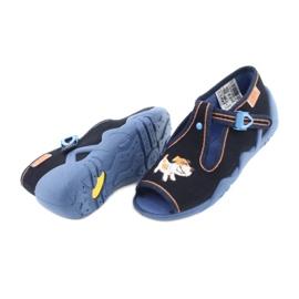 Befado obuwie dziecięce 217P105 granatowe pomarańczowe wielokolorowe 4