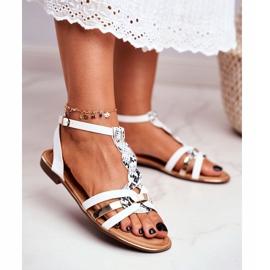 PS1 Damskie Sandałki Eleganckie Białe Wężowa Brooke 1