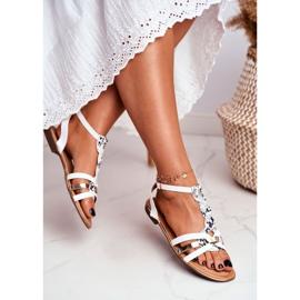 PS1 Damskie Sandałki Eleganckie Białe Wężowa Brooke 2