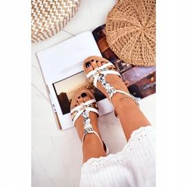 PS1 Damskie Sandałki Eleganckie Białe Wężowa Brooke 4