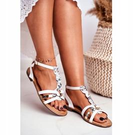 PS1 Damskie Sandałki Eleganckie Białe Wężowa Brooke 3
