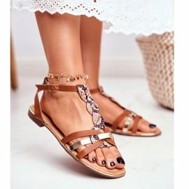 PS1 Damskie Sandałki Eleganckie Brązowe Wężowa Brooke 1