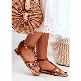 PS1 Damskie Sandałki Eleganckie Brązowe Wężowa Brooke 2
