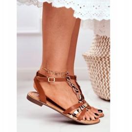 PS1 Damskie Sandałki Eleganckie Brązowe Wężowa Brooke 4
