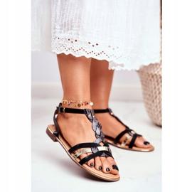 PS1 Damskie Sandałki Eleganckie Czarne Wężowa Brooke 1