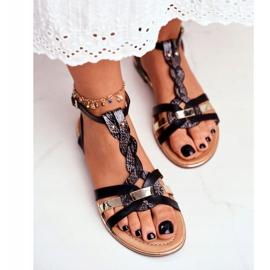 PS1 Damskie Sandałki Eleganckie Czarne Wężowa Brooke 4