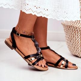 PS1 Damskie Sandałki Eleganckie Czarne Wężowa Brooke 2