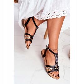 PS1 Damskie Sandałki Eleganckie Czarne Wężowa Brooke 3
