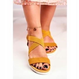 PS1 Sandałki Damskie Na Koturnie Żółte Wsuwane Harper 5