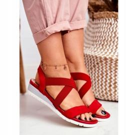 PS1 Sandałki Damskie Na Koturnie Czerwone Wsuwane Harper 3