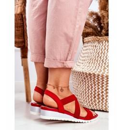 PS1 Sandałki Damskie Na Koturnie Czerwone Wsuwane Harper 4