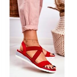 PS1 Sandałki Damskie Na Koturnie Czerwone Wsuwane Harper 1