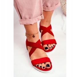 PS1 Sandałki Damskie Na Koturnie Czerwone Wsuwane Harper 5