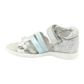 Sandałki dziewczęce z piętką American Club GC26 niebieskie szare 1