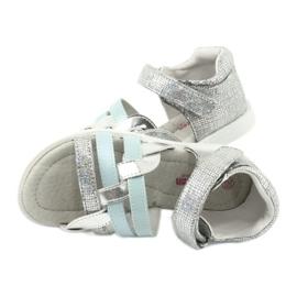 Sandałki dziewczęce z piętką American Club GC26 niebieskie szare 4