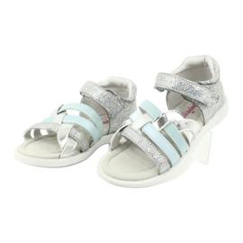 Sandałki dziewczęce z piętką American Club GC26 niebieskie szare 2