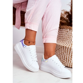 Sportowe Damskie Buty Lu Boo Białe Metaliczne Niebieskie Matilda 3