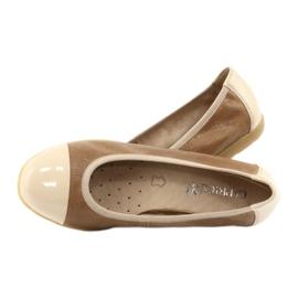 Caprice buty damskie balerinki 22152 skóra beżowy 4