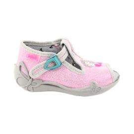 Befado obuwie dziecięce 213P116 różowe szare 1