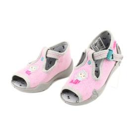 Befado obuwie dziecięce 213P116 różowe szare 2