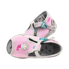 Befado obuwie dziecięce 213P116 różowe szare 4