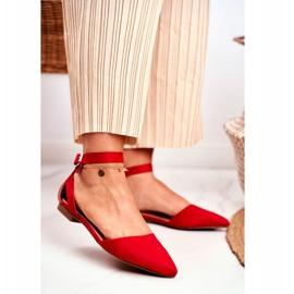 PS1 Baleriny Damskie Płaskie Czerwone Na Pasek W Szpic Allison 1