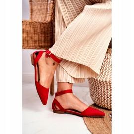 PS1 Baleriny Damskie Płaskie Czerwone Na Pasek W Szpic Allison 2
