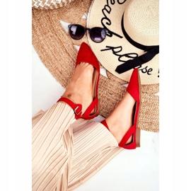 PS1 Baleriny Damskie Płaskie Czerwone Na Pasek W Szpic Allison 3