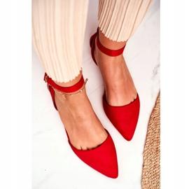 PS1 Baleriny Damskie Płaskie Czerwone Na Pasek W Szpic Allison 4